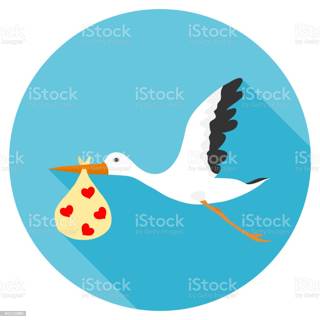 A stork is carrying a baby, a stork in its beak carries a package with a child, a stork and a child. vector art illustration