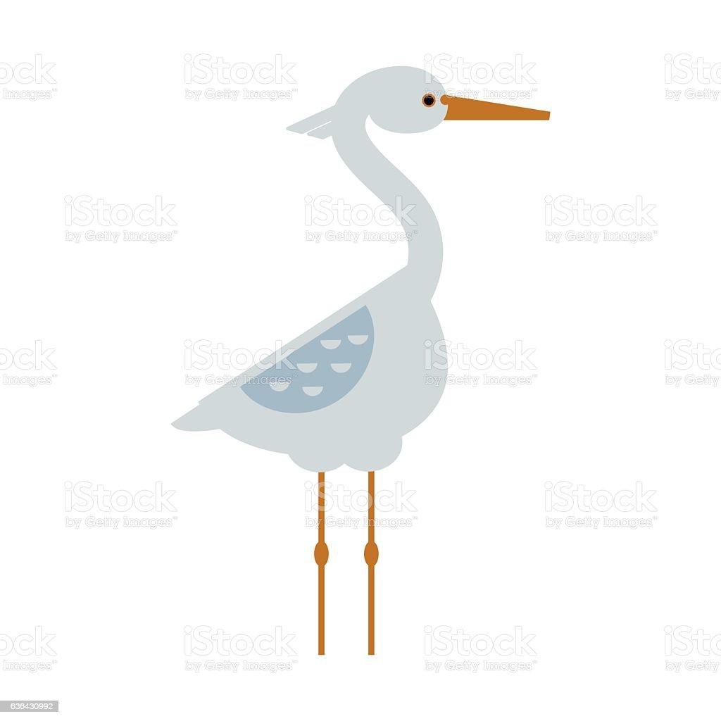 Stork standing sarus crane cartoon vector. - illustrazione arte vettoriale