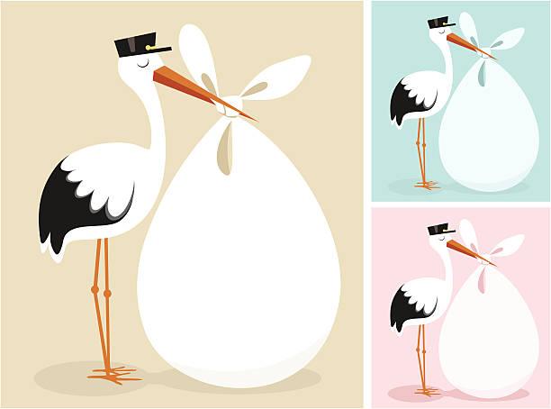 bocian - new born baby stock illustrations