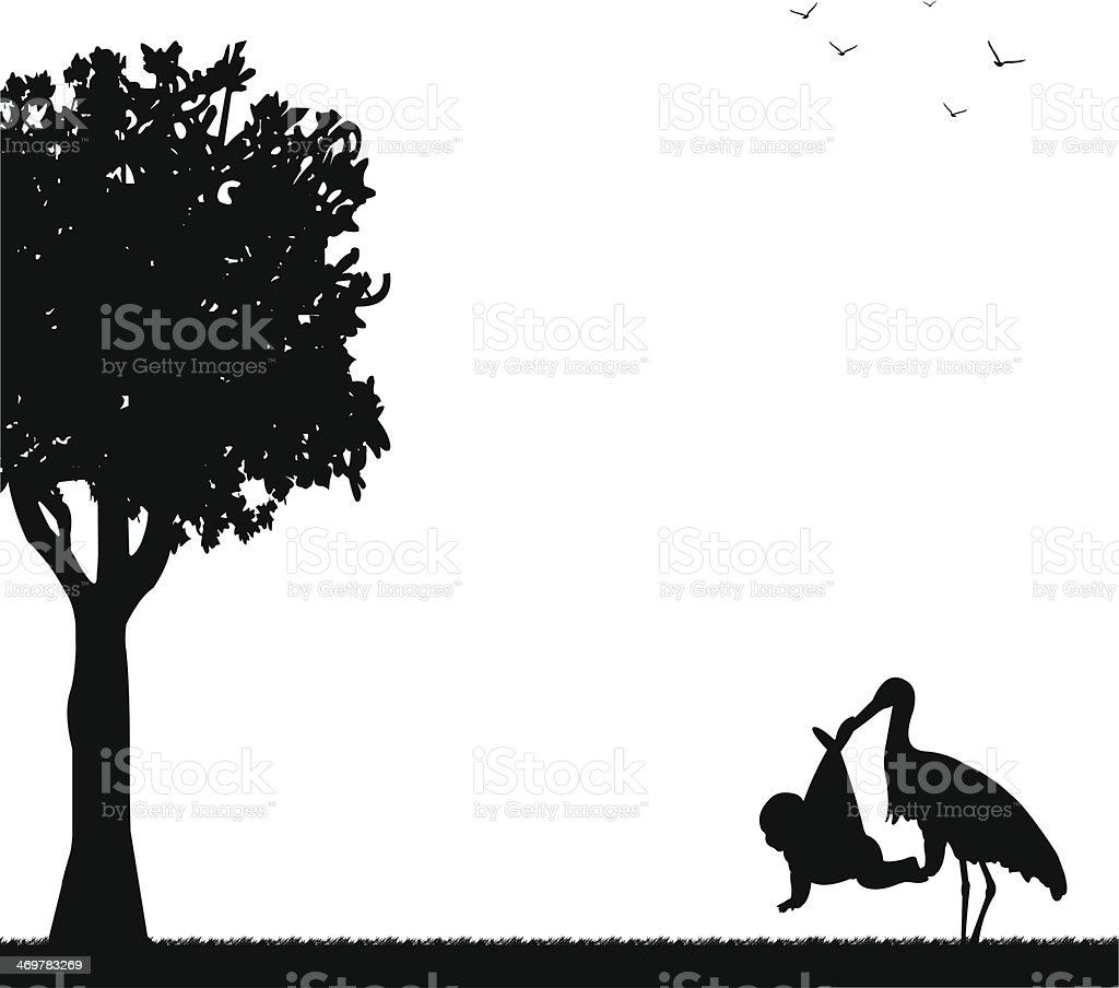 Stork with a baby in a bag in park in spring silhouette royalty-free stock vector art