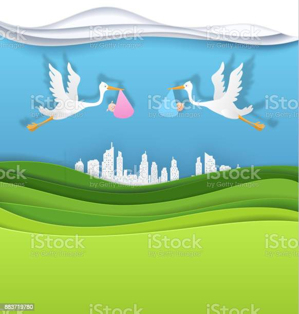Stork with baby girl and boy in the green city vector paper art cut vector id883719780?b=1&k=6&m=883719780&s=612x612&h=ux0 kpvh2stnppidmrkzbw8erq6wn9lchuxnhq9wuj0=