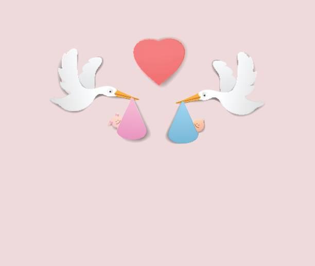 コウノトリと赤ちゃん少女と少年紙アートかわいいベクター紙カット イラスト - 出産点のイラスト素材/クリップアート素材/マンガ素材/アイコン素材