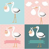 Stork With Baby Set