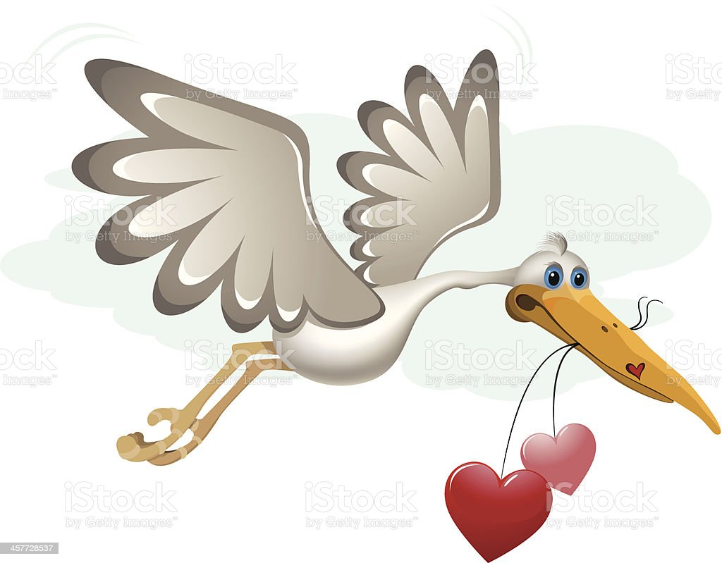stork with heart royalty-free stock vector art
