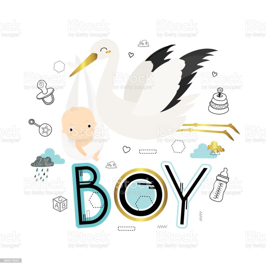 Cigogne Avec Bébé Vecteurs Libres De Droits Et Plus D Images