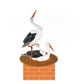 Storks and nest on a chimney vector