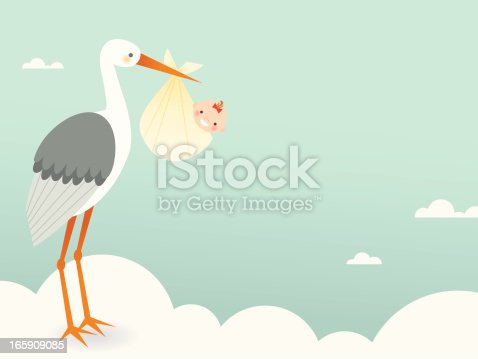 A tall, regal stork carrying a little bouncing baby ready for arrival to expectant parents
