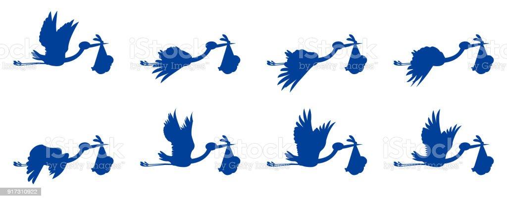 Cigognes Avec Animation Volant Bébé Vecteurs Libres De