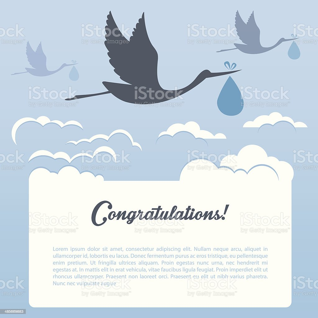 Storks with clouds vector art illustration