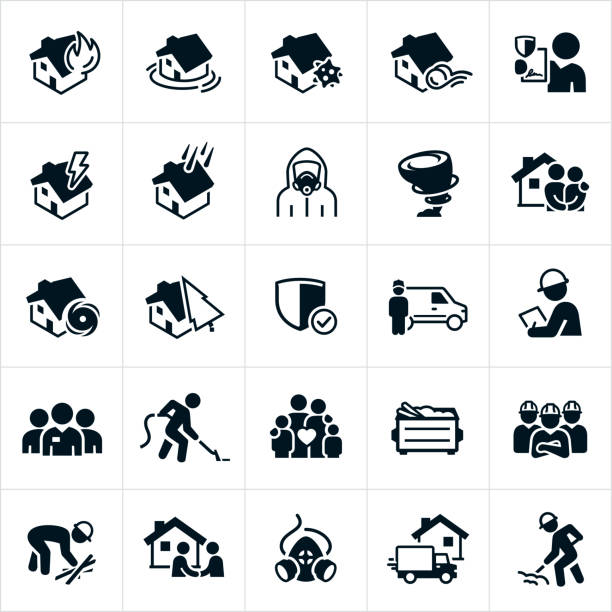 Storm and Disaster Cleanup Icons A set of disaster cleanup icons. The icons include a house fire, house being flooded, a house with mold, a house with wind damage, a house being hit by lightning, a house being damaged by hail, a house being damaged by a hurricane, a house being damaged by a falling tree, a person wearing a hazmat suit, a tornado, insurance claim, insurance agent, cleanup services, debris, a dumpster with debris, cleanup crews wearing hard hats and people cleaning up after a disaster to name a few. dumpster fire stock illustrations