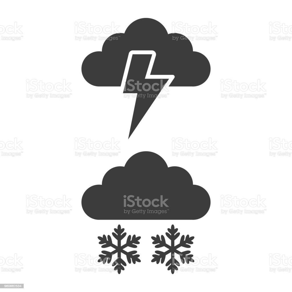 Sturm und Schnee Symbol auf weißem Hintergrund. - Lizenzfrei Bolzen Vektorgrafik