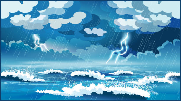Storm at sea Stylized vector illustration of an ocean during a storm storm stock illustrations