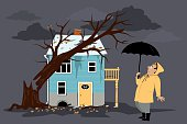 Upset homeowner standing in front of a house damaged by a fallen tree, EPS 8 vector illustration, no transparencies