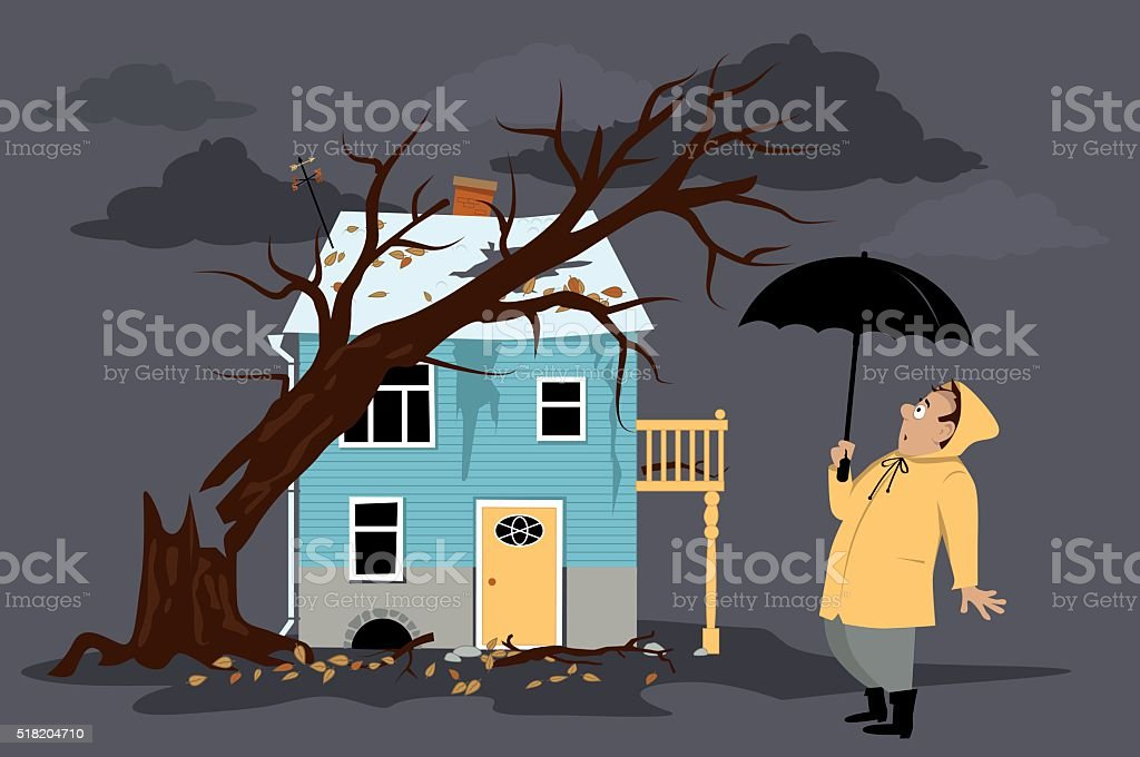 Storm damage vector art illustration
