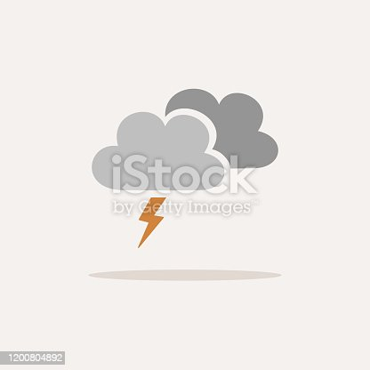 istock Storm. Icon with shadow on a beige background. Weather vector illustration 1200804892