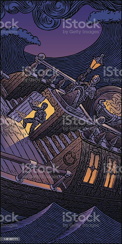 Storm on Sea vector art illustration