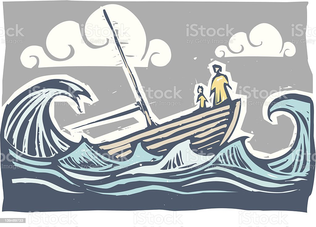 Storm Sinking boat vector art illustration