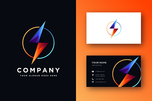 storm vector icon and business card template