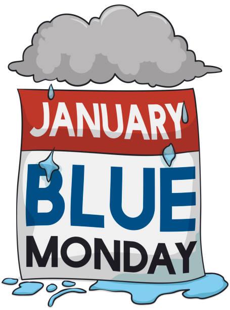 stockillustraties, clipart, cartoons en iconen met stormachtige en regenachtige wolk over losbladige kalender voor blauwe maandag - blue monday