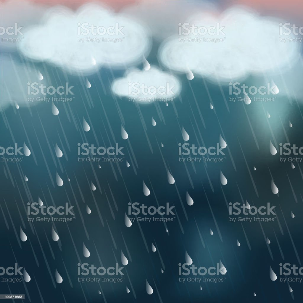 Stormy clouds with heavy rainfall. vector art illustration