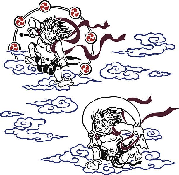 神と嵐の神様で、サンダー - 漫画のモンスター点のイラスト素材/クリップアート素材/マンガ素材/アイコン素材