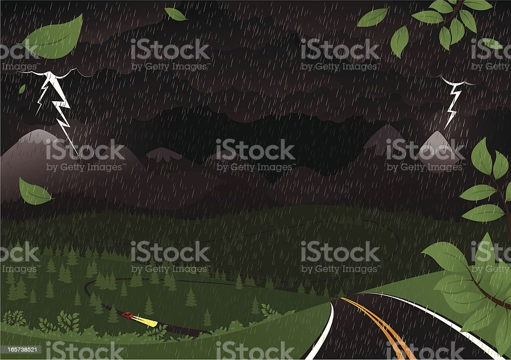 Stormy night landscape royalty-free stock vector art