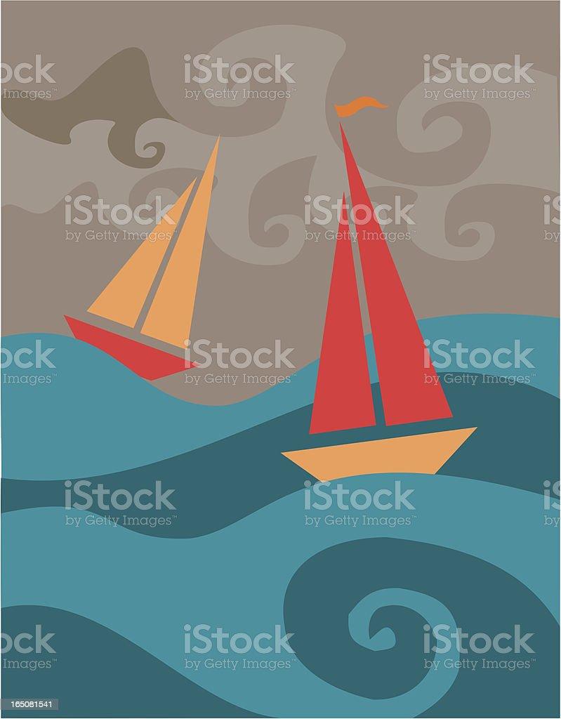 Stormy Sailboats royalty-free stock vector art