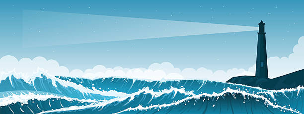 Stormy seascape background with lighthouse - ilustración de arte vectorial