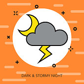 Stormy Thin Line Halloween Icon