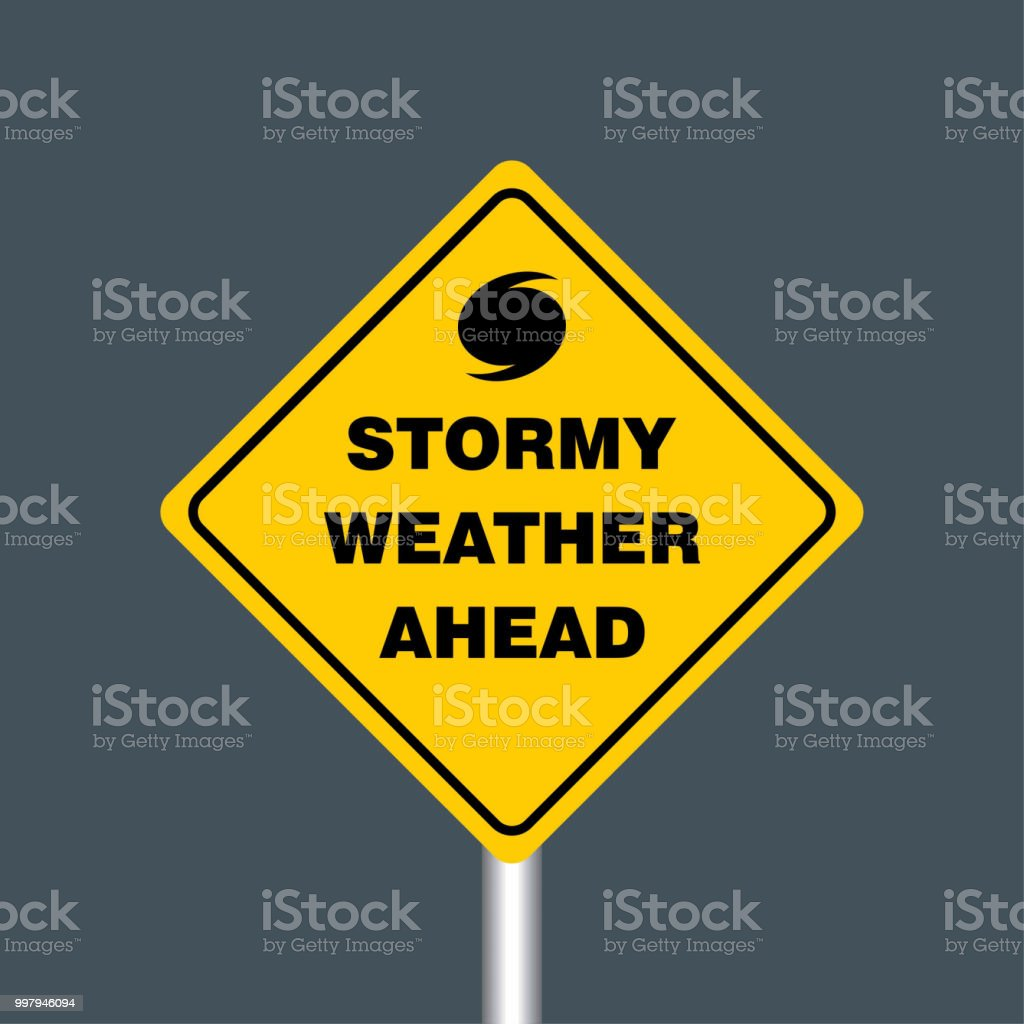 Stormy Weather Ahead Signboard Hurricane Indication Graphic Banner