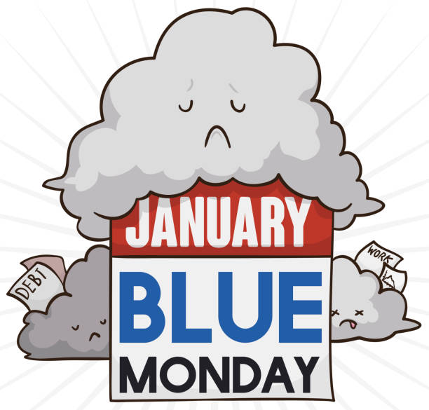 illustrazioni stock, clip art, cartoni animati e icone di tendenza di stormy weather with sad clouds and calendar for blue monday - blue monday