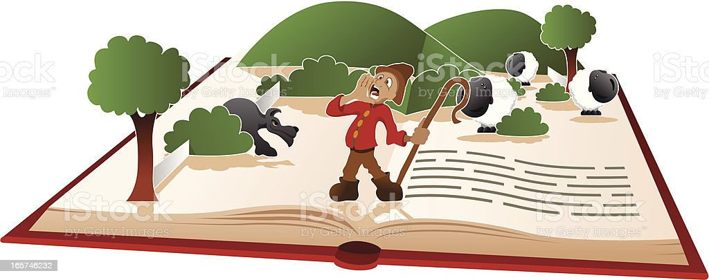 Story book - The Boy Who Cried Wolf vector art illustration