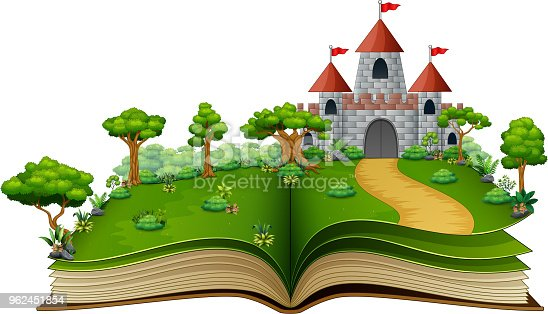 Vector illustration of story book with a castle and river in the green park