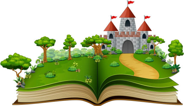 illustrazioni stock, clip art, cartoni animati e icone di tendenza di story book with a castle in the green park - personaggio fantastico