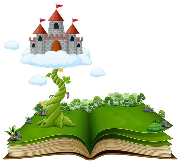 märchenbuch mit magische bohnenranke und schloss in den wolken - geistergeschichten stock-grafiken, -clipart, -cartoons und -symbole