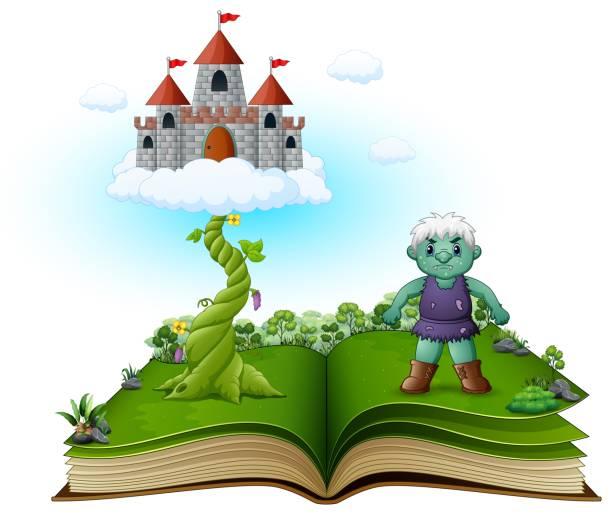 märchenbuch mit magische bohnenranke, schloß in den wolken und der grüne riese - geistergeschichten stock-grafiken, -clipart, -cartoons und -symbole