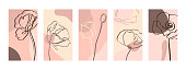 Set Backgrounds with one line poppy flowers . Abstract Mobile Wallpapers in minimal trendy style templates for social media stories. Vector Illustration in pastel color pink