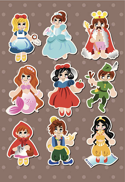 story people stickers story people stickers - vector illustration peter pan stock illustrations