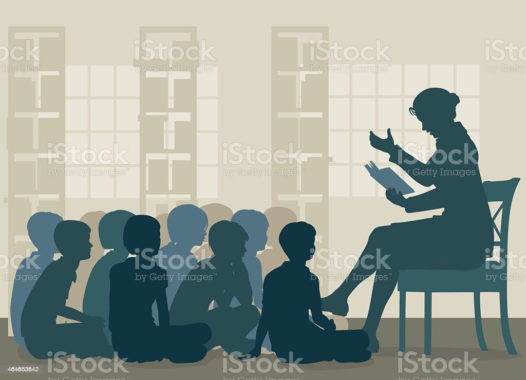 Story reading vector art illustration