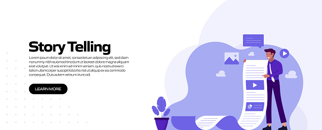 Story Telling Concept Vector Illustration for Website Banner, Advertisement and Marketing Material, Online Advertising, Business Presentation etc.