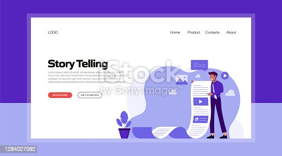 istock Story Telling Concept Vector Illustration for Website Banner, Advertisement and Marketing Material, Online Advertising, Business Presentation etc. 1284027092