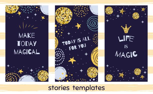 story-vorlage für social-media-set mit zitaten leben magie niedlich weihnachten design social-net-geschichten - storytelling grafiken stock-grafiken, -clipart, -cartoons und -symbole