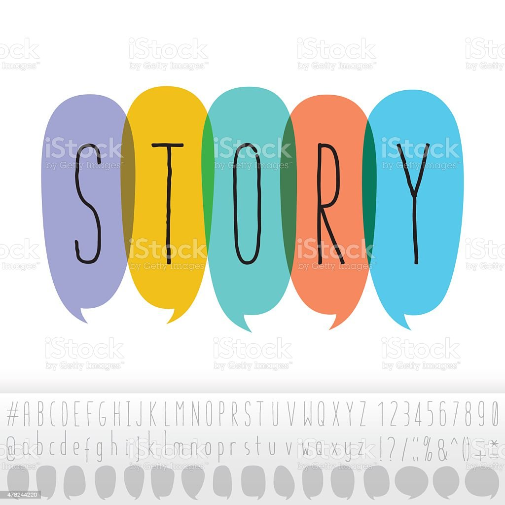 Story Text In Speech Bubbles With Alphabet Design Set vector art illustration