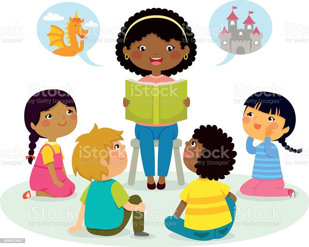 story time – multicultural group vector art illustration