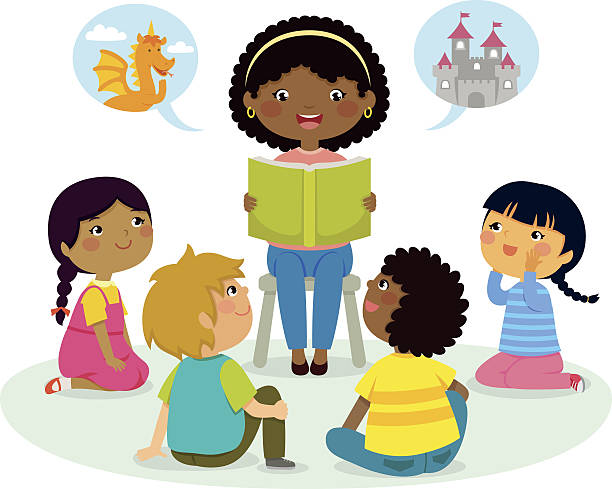 stockillustraties, clipart, cartoons en iconen met story time – multicultural group - prentenboek