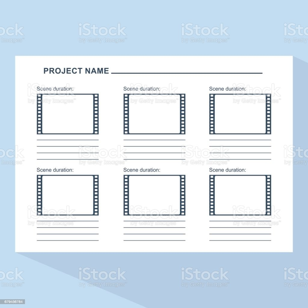 storyboard template on blue royalty free storyboard template on blue stock vector art