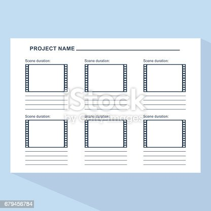 Storyboard Template On Blue Stock Vector Art More Images Of