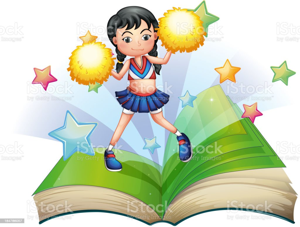 storybook with a cheerdancer dancing royalty-free stock vector art