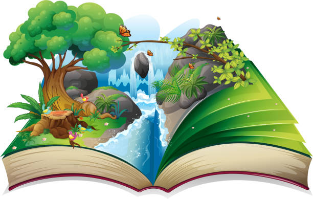 stockillustraties, clipart, cartoons en iconen met storybook with an image of nature - prentenboek
