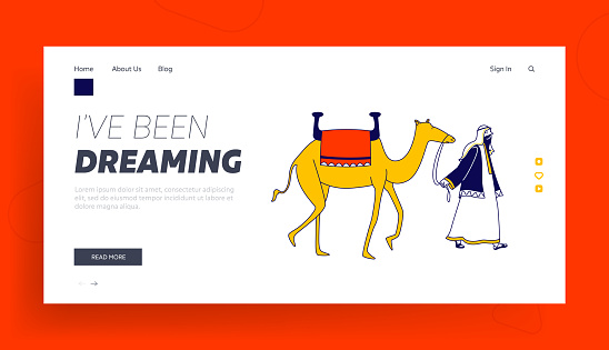 Storytelling, Arabic Travel Page Template. Male Character Wearing Arab Dressing Leading Camel. Personage of Arabian Fairytale, Muslim Man Drover or Bedouin Crossing Desert. Linear Vector Illustration